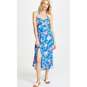 WAYF Ucca Blue Floral Halter Midi Dress